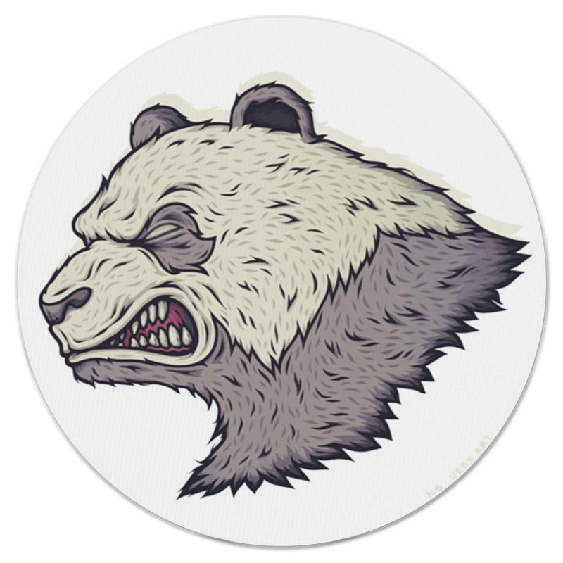 купить Коврик для мышки (круглый) Printio Angry panda / злая панда по цене 500 рублей