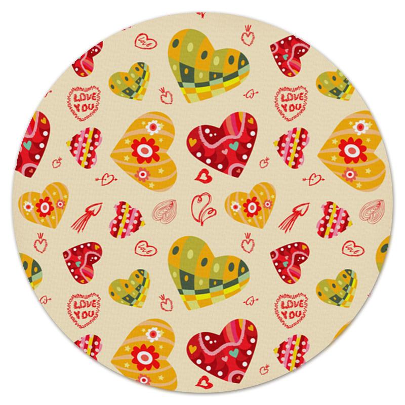 Коврик для мышки (круглый) Printio Сердечки цветные коврик для мышки круглый printio сердечки