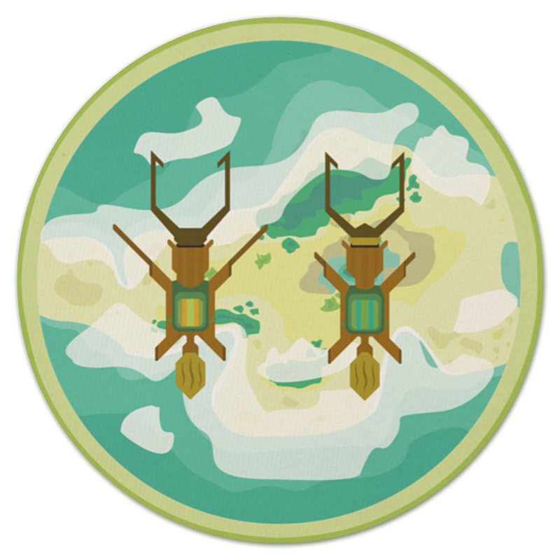 Коврик для мышки (круглый) Printio Полет над островом