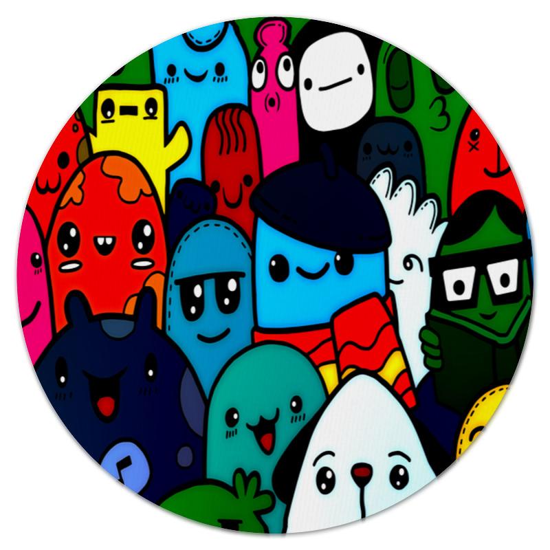 Коврик для мышки (круглый) Printio Цветные смайлы