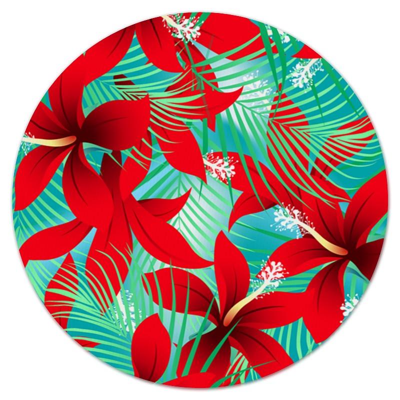 Коврик для мышки (круглый) Printio Красные цветы коврик для мышки printio красные полосы