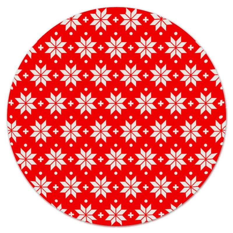 Коврик для мышки (круглый) Printio Красно-белый узор