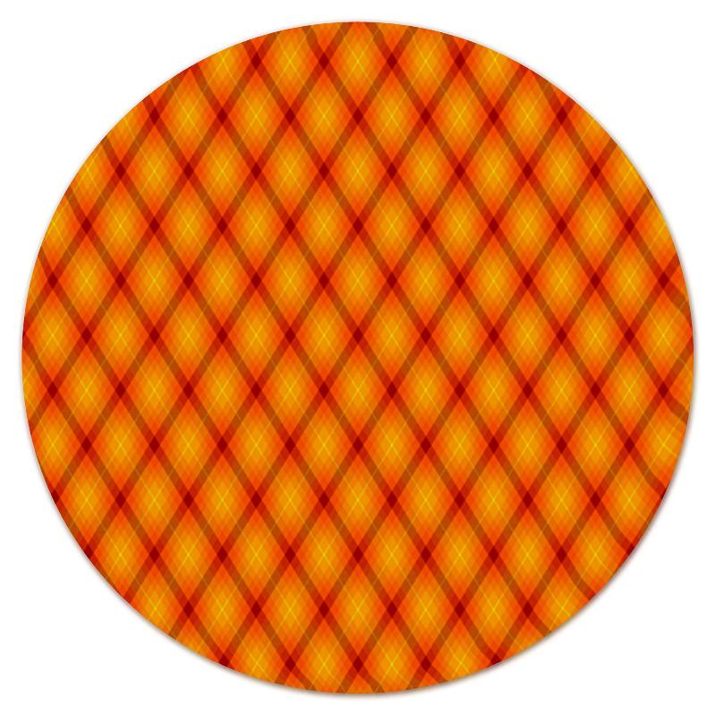 Коврик для мышки (круглый) Printio Клетка оранжевая