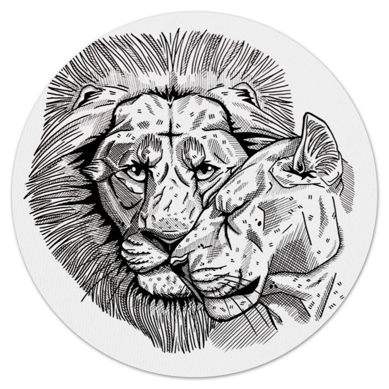 Коврик для мышки (круглый) Printio Львиная любовь vervaco набор для вышивания лицевой стороны наволочки львиная любовь 40 40см