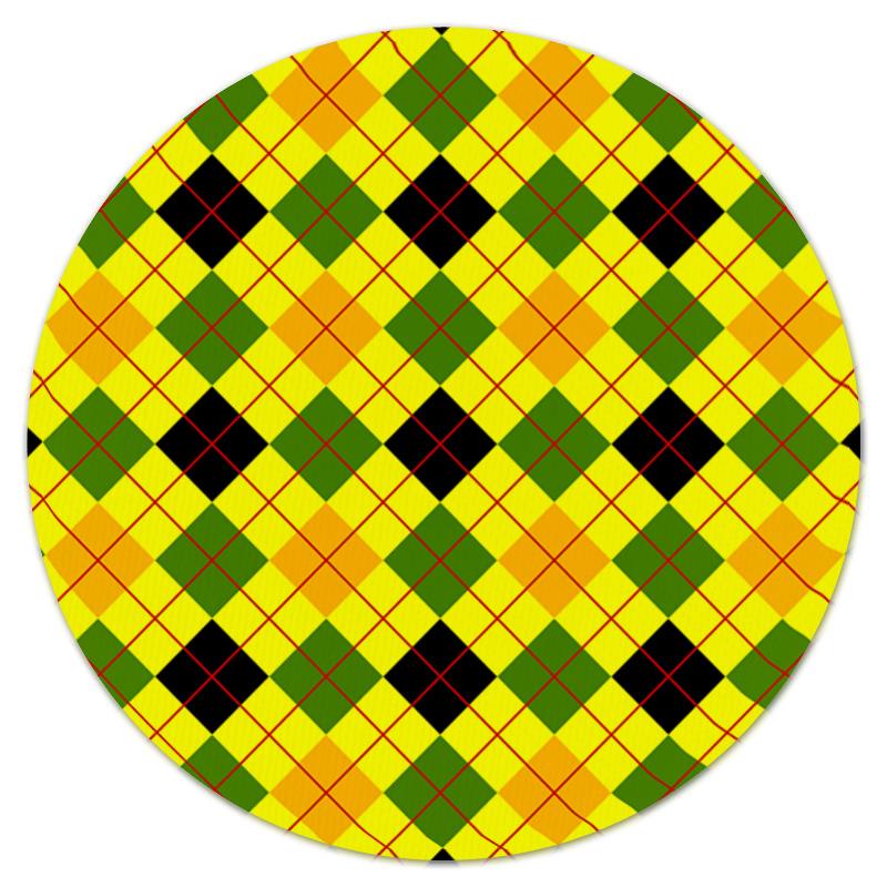 Коврик для мышки (круглый) Printio Клетка желтая