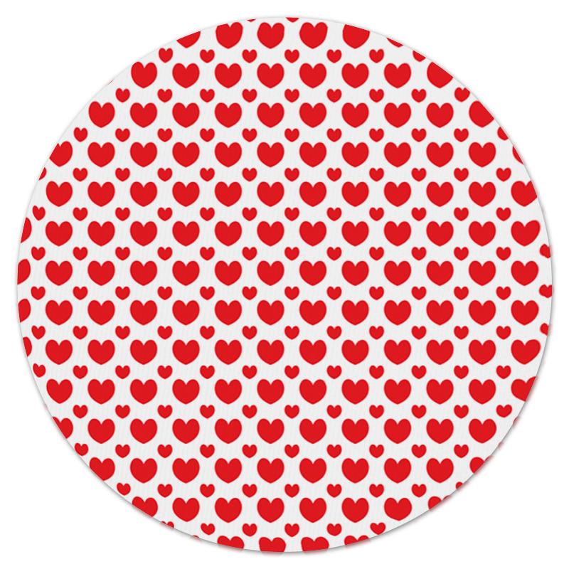 Коврик для мышки (круглый) Printio Красные сердечки