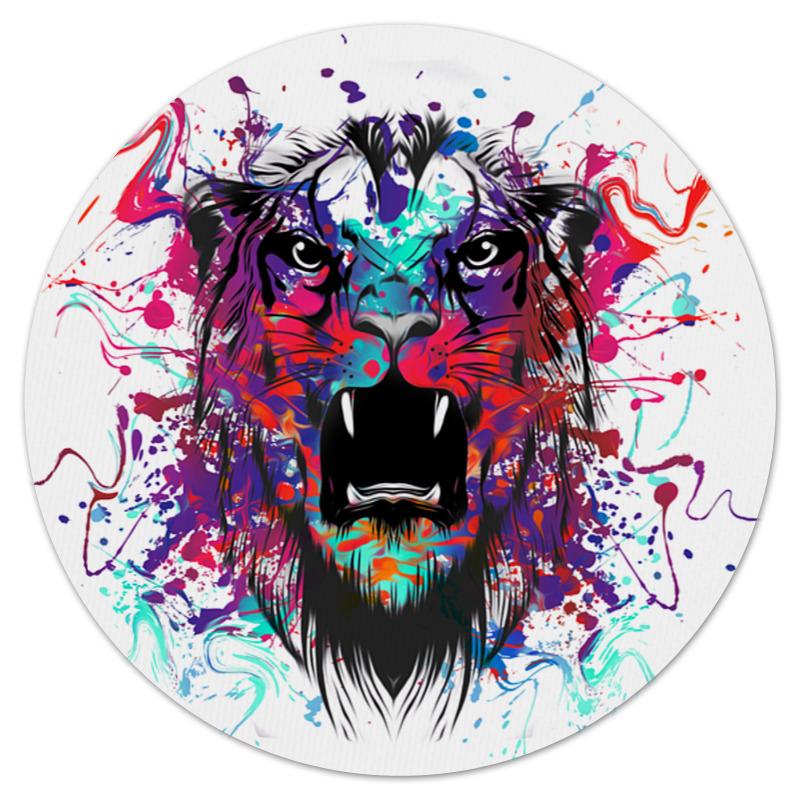 Коврик для мышки (круглый) Printio Тигр красками цена