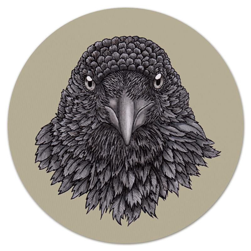 Коврик для мышки (круглый) Printio Портрет птицы ворона. взгляд ворона