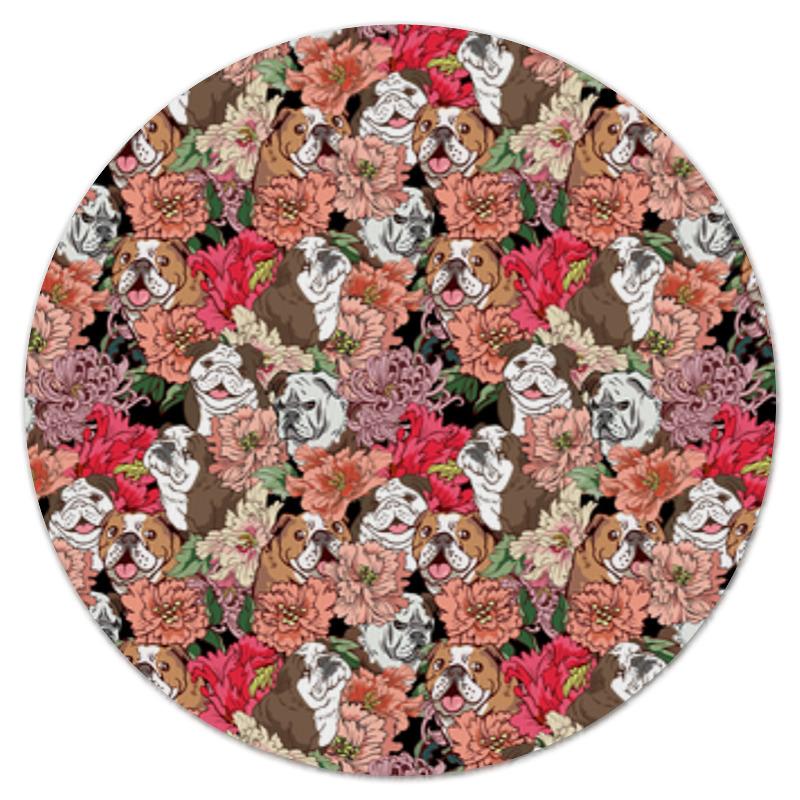 Коврик для мышки (круглый) Printio Dogs and flowers sleeping dogs