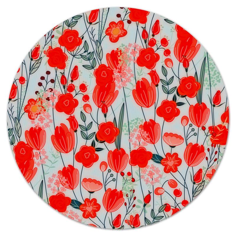 Коврик для мышки (круглый) Printio Красные цветы коврик для мышки printio цветы мака