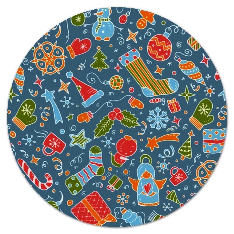 Коврик для мышки (круглый) Printio Новогодние игрушки