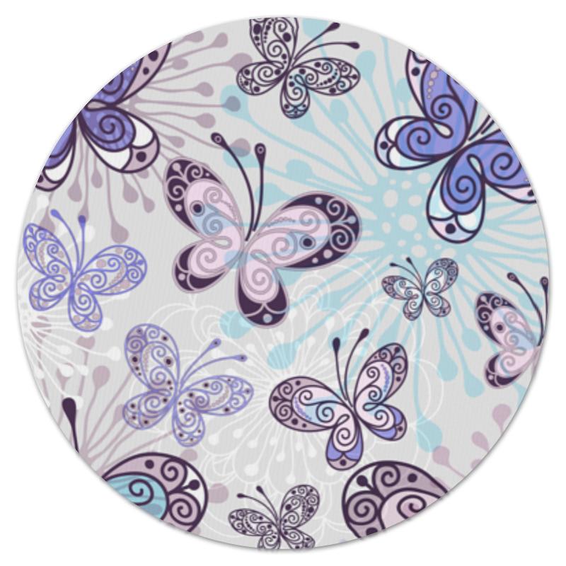 Коврик для мышки (круглый) Printio Фиолетовые бабочки