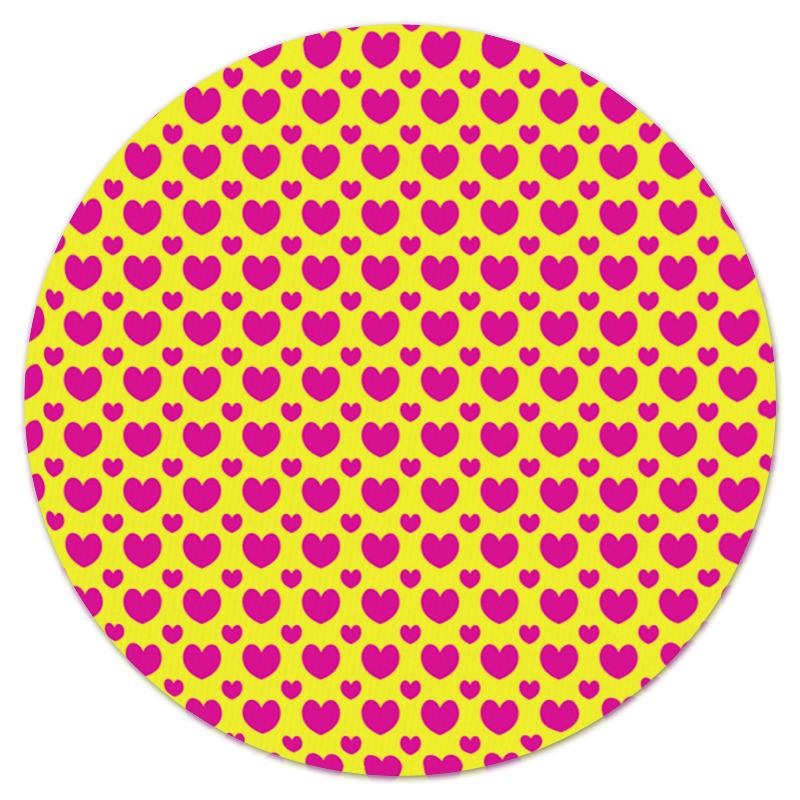 Коврик для мышки (круглый) Printio Розовые сердца