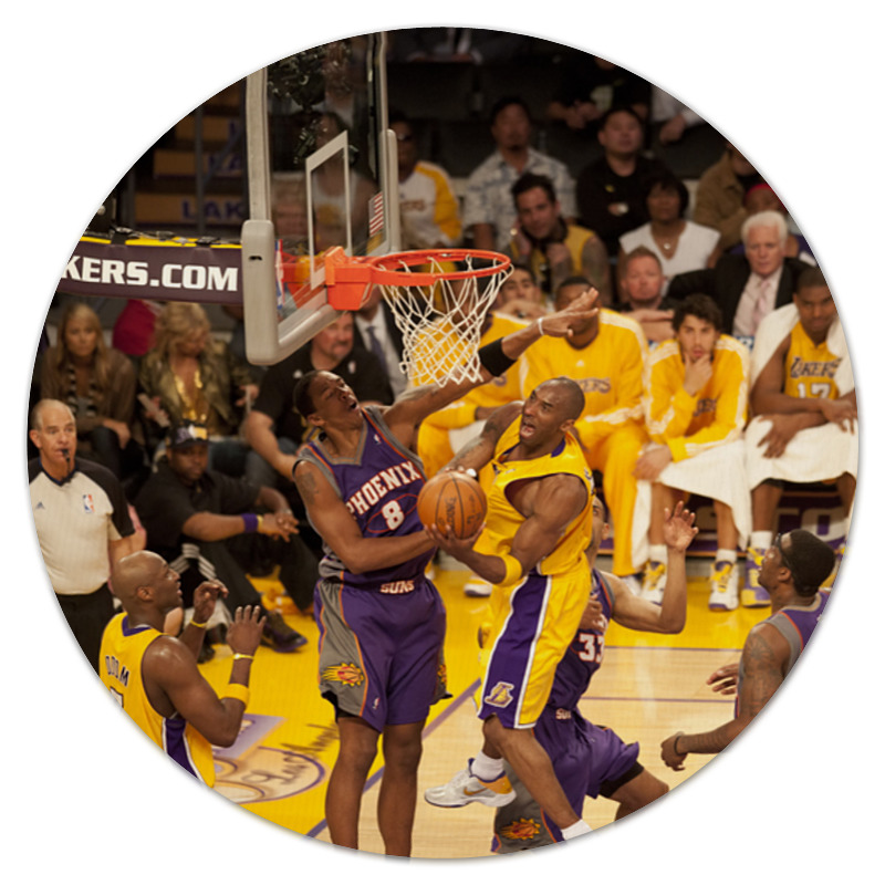 Коврик для мышки (круглый) Printio Lakers - kobe trevor ariza autographed signed 8x10 photo lakers nba finals free throw coa