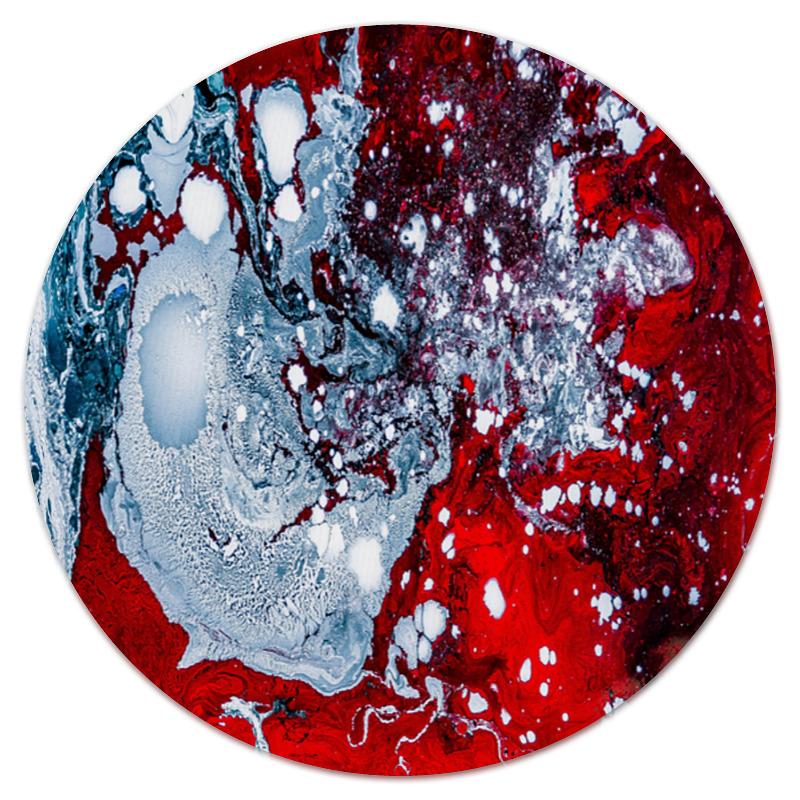 Коврик для мышки (круглый) Printio Красно-белые краски коврик для мышки printio белые медведи