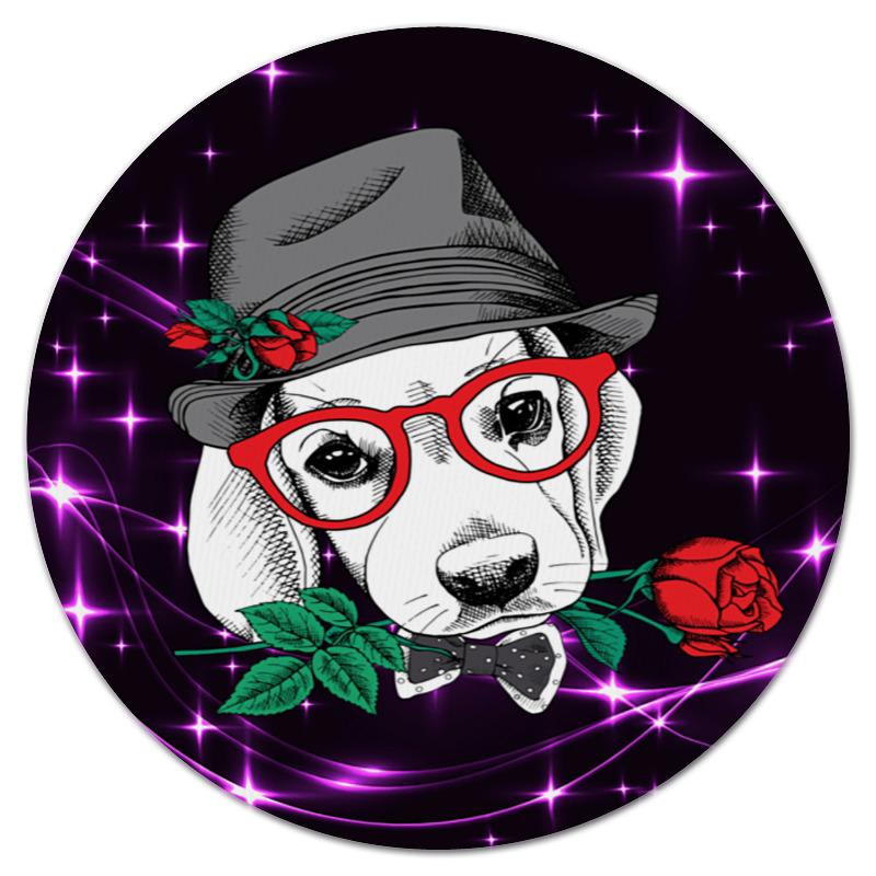 Коврик для мышки (круглый) Printio Пес и роза пламенная роза тюдоров