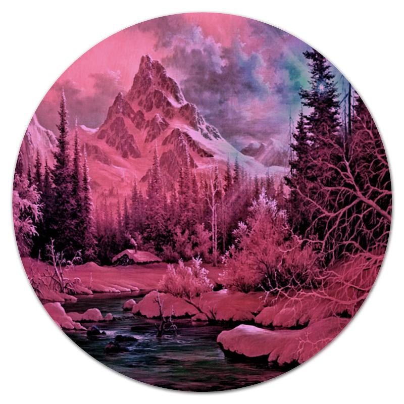 Коврик для мышки (круглый) Printio Розовый пейзаж