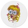 """Коврик для мышки (круглый) """"Без ума от цветов"""" - любовь, девушка, цветы, сердца, блондинка"""