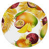 """Коврик для мышки (круглый) """"Тропические фрукты"""" - фрукты, рисунок, тропики, папайя, маракуйя"""