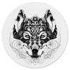 """Коврик для мышки (круглый) """"Волк Стилизация"""" - арт, волк, волчица, чёрное и белое"""