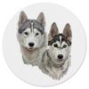 "Коврик для мышки (круглый) ""Собаки Хаски."" - арт, dog, популярные, собака, хаски, собаки, волк, wolf, husky, костер"