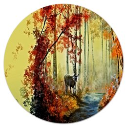 """Коврик для мышки (круглый) """"Осенняя роща"""" - пейзаж, лес, природа, животные, деревья"""