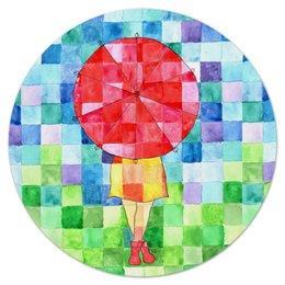 """Коврик для мышки (круглый) """"Мозаика"""" - девушка, осень, ярко, мозаика, зонт"""