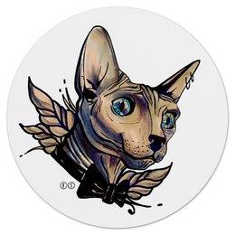 """Коврик для мышки (круглый) """"Mr. Cox мышь"""" - кот, сфинкс, голубые глаза, tm kiseleva, cat, blue eyes"""