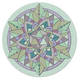 "Коврик для мышки (круглый) ""Круглый Sacred mint"" - узор, мандала, паттерн, мята, визуализация"
