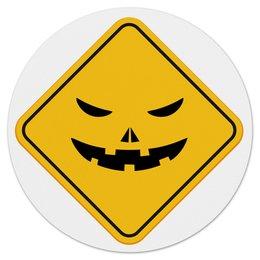 """Коврик для мышки (круглый) """"Треугольник"""" - знак, треугольник, улыбка, желтый"""