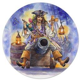 """Коврик для мышки (круглый) """"Поедем, красотка, кататься."""" - арт, джек воробей, пираты карибского моря, капитан джек воробей"""