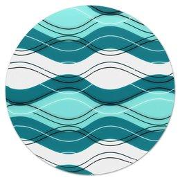 """Коврик для мышки (круглый) """"Шторм"""" - волны, море, вода, синий, линии"""