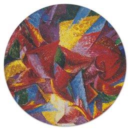 "Коврик для мышки (круглый) ""Пластичные формы лошади (картина Умберто Боччони)"" - картина, живопись, футуризм, кубизм, боччони"