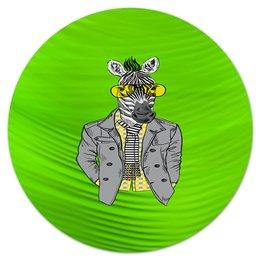 """Коврик для мышки (круглый) """"Без названия"""" - животные, зебра, очки, природа, конь в пальто"""