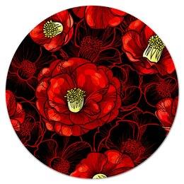 """Коврик для мышки (круглый) """"Цветы мака"""" - цветы, весна, цветные, цветочки, красные"""