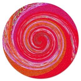 """Коврик для мышки (круглый) """"Завихрение красного"""" - красный, розовый, круги, полоски, смешение"""