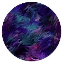 """Коврик для мышки (круглый) """"Синие краски"""" - краски, яркие, синие, пятна, брызги"""