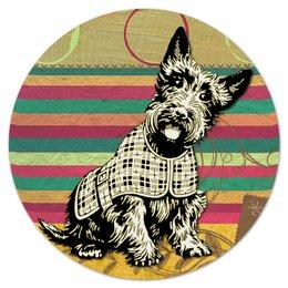 """Коврик для мышки (круглый) """"Скотч-терьер"""" - арт, пес, собака, скотч-терьер"""