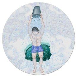 """Коврик для мышки (круглый) """"Обливание ледяной водой"""" - зима, крещение, здоровый образ жизни, обливание ледяной водой, прорубь"""