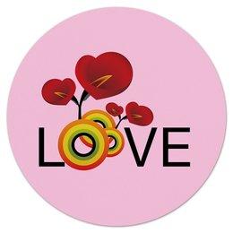 """Коврик для мышки (круглый) """"Любовь"""" - любовь, цветы"""
