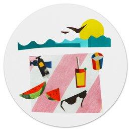 """Коврик для мышки (круглый) """"Отпуск"""" - лето, фрукты, солнце, море, пляж"""