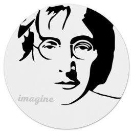 "Коврик для мышки (круглый) ""Джон Леннон"" - звезда, битлз, кумир, легенда, леннон"