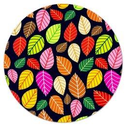 """Коврик для мышки (круглый) """"Листва"""" - листья, осень, природа, листва, листы"""