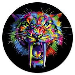 """Коврик для мышки (круглый) """"ТИГРЫ ФЭНТЕЗИ"""" - хищник, животные, стиль эксклюзив креатив красота яркость, неоновый цвет"""