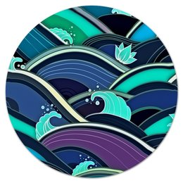 """Коврик для мышки (круглый) """"Волны"""" - море, синий, вода, волны, линии"""
