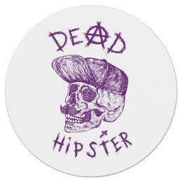 "Коврик для мышки (круглый) ""Hipster is dead"" - череп, арт, крест, рисунок, хипстер"