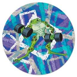 "Коврик для мышки (круглый) ""Спорт"" - лягушка, жаба, узор, гантели, спорт"
