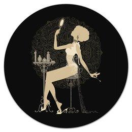 """Коврик для мышки (круглый) """"Красивая девушка с зеркалом  силуэт ESZAdesign"""" - силуэт, винтаж, стильный, фешн, элегантный"""