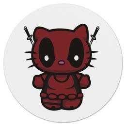 """Коврик для мышки (круглый) """"Kitty Deadpool"""" - кошка, китти, marvel, марвел, дэдпул"""