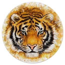"""Коврик для мышки (круглый) """"Зверь"""" - хищник, животные, огонь, тигр, зверь"""